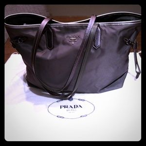 Prada grey/silver nylon tote bag
